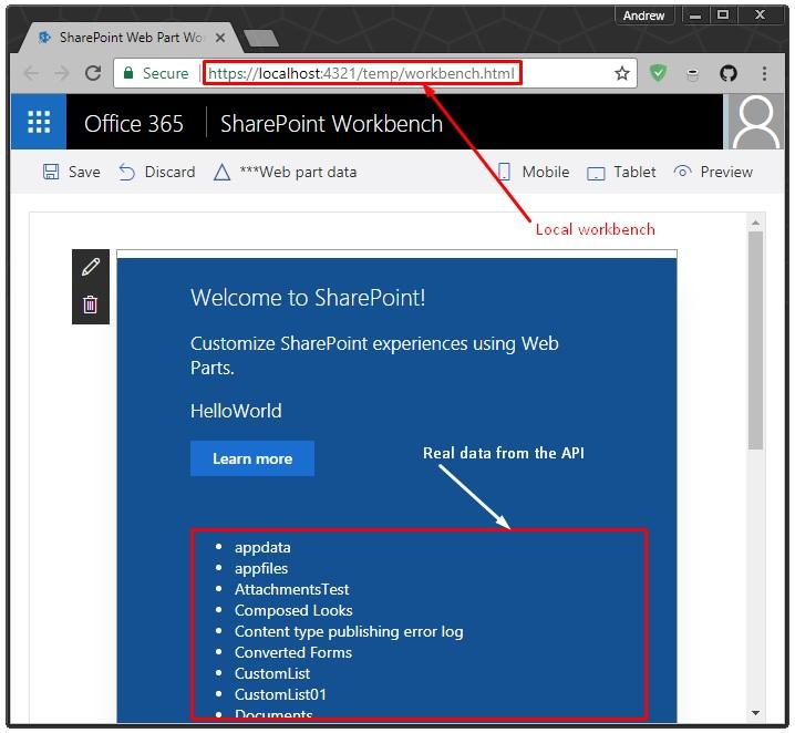 Local SPFx Workbench against real SharePoint API