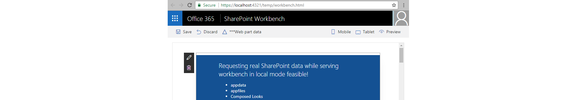 Local spfx workbench against real sharepoint api malvernweather Images